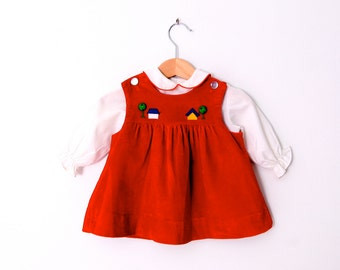 Vintage Baby Dress in Red Velvet with Coordinating White Shirt