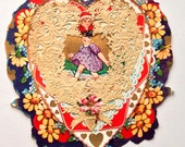 Victorian Die Cut Valentines Card WHITNEY Lacy Heart 20s Vintage
