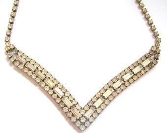 Vintage Necklace Rhinestone Chevron 16 Inch