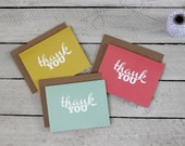 Thank You Colorful & Kraft Stationery Set - Typographic, Modern Folded A2 Greeting Cards in Mustard Yellow, Mint Green and Salmon Pink