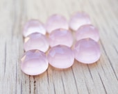 6mm Pink Chalcedony faceted cabochon. baby pink light pink cabochon pastel pink gem rose cut pink cab