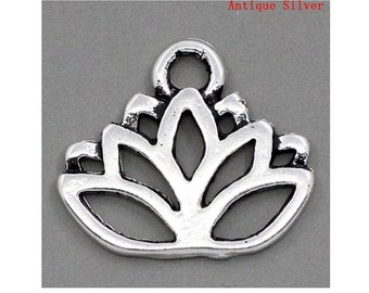 12 Lovely Serene Lotus Blossom Charms Atq Silver Tone Lotus Flower Charm Jewelry Supplies 17x14 mm