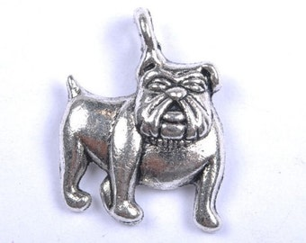 10 BULLDOG Charms Dog Pet Themed Jewelry Antique Siver Tone Charm Jewelry Craft Supplies 17x17 mm