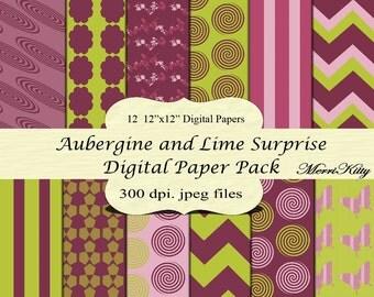 "INSTANT DOWNLOAD - Digital Scrapbook Paper Pack - Aubergine and Lime Surprise - NO.31- 12 12""x12"" Digital Papers - Card Making - Digital"