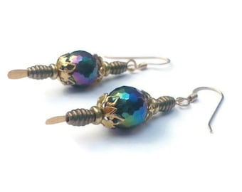 Iridescent Beads with Gold Dangle Earrings