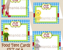 Dorothy  Wizard of Oz Inspired Food Tent Printable Buffet Cards Set of 4 Blank Food Cards Instant Download