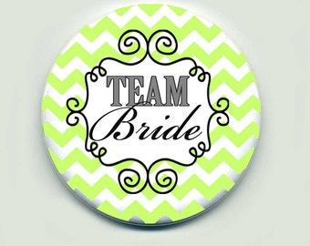 Team Bride Pin Button for Wedding, set of 12 buttons  2.25 inch buttons