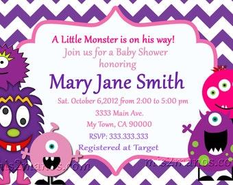 Monster Baby Shower Invites Little Monster Party Chevron Purple Invitations Printable