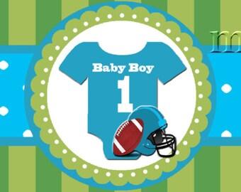 Football Water Bottle Label - Blue Football Baby Shower Printable DIY Water Bottle Label - Instant Download
