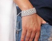 Pearl Embroidered Bracelet, Rhinestone, Wedding Bracelet Cuff, Vintage Inspired Bridal Wedding Bracelet