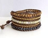 Leather Wrap Bracelet - Jasper, Italian Onyx, Gold Bead Nuggets, Snowflake Obsidian, Metalic Brown Leather