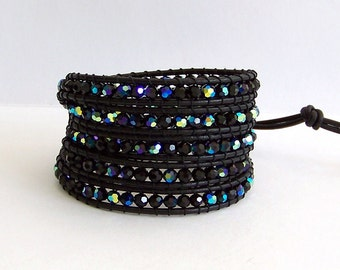 Leather Wrap Bracelet - Czech Fire Polished Jet Black AB Bead, Black leather - Bohemian Chic