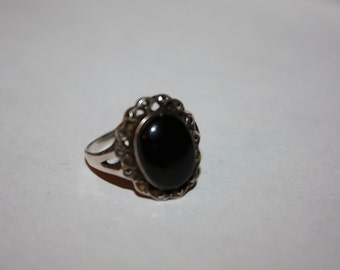 Vintage Sterling Silver Ring, Oynx  Marcasite Ring, Boho 1960s Jewelry