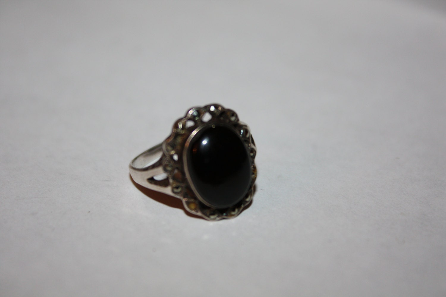 vintage sterling silver ring oynx marcasite ring boho 1960s