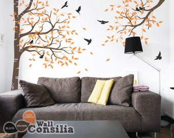 Tree Wall Decal -  Nursery Wall Decoration Tree Wall Sticker - Corner Tree and Branch wall Mural decal - KC043