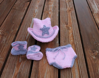 Lil' Pink Cowgirl Hat , Diaper Cover and Boot Set- Made to Order- Any Size