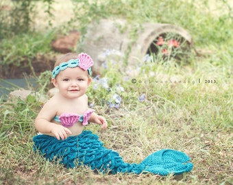 Lil' Mermaid Tail diaper cover, headband, and shell top- Made to Order- Any size