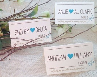 Rustic Modern Blue Heart Seating Cards: Get Started Deposit or DIY Payment