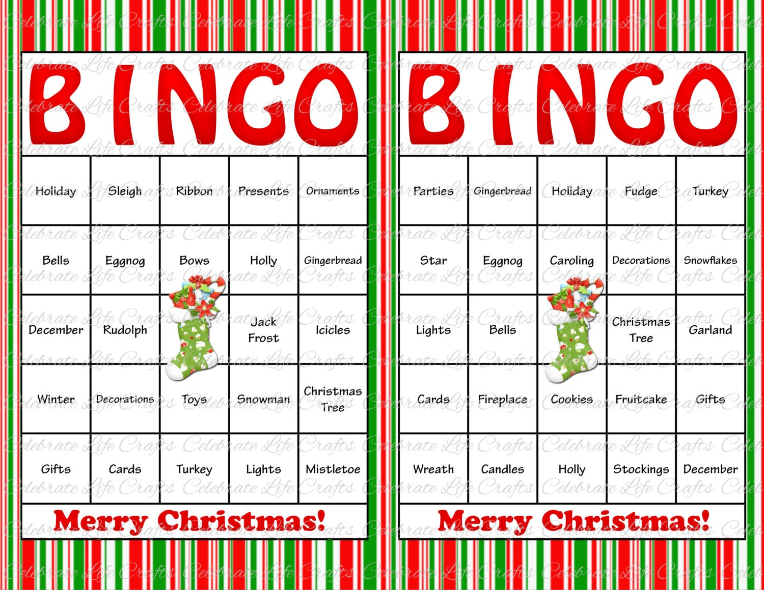 to 30 Christmas Bingo Cards - DIY Printable Game for Christmas Holiday ...