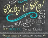 Printable Chalkboard Look Baby Shower 5 x 7 Invitation - Digital File Only