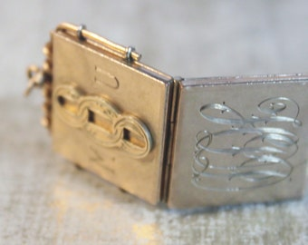 c 1880-1895 Odd Fellows Symbol Gold Filled Antique Locket Etched Locket FOB Embossed Square Locket  Men's Watch Fob Initials