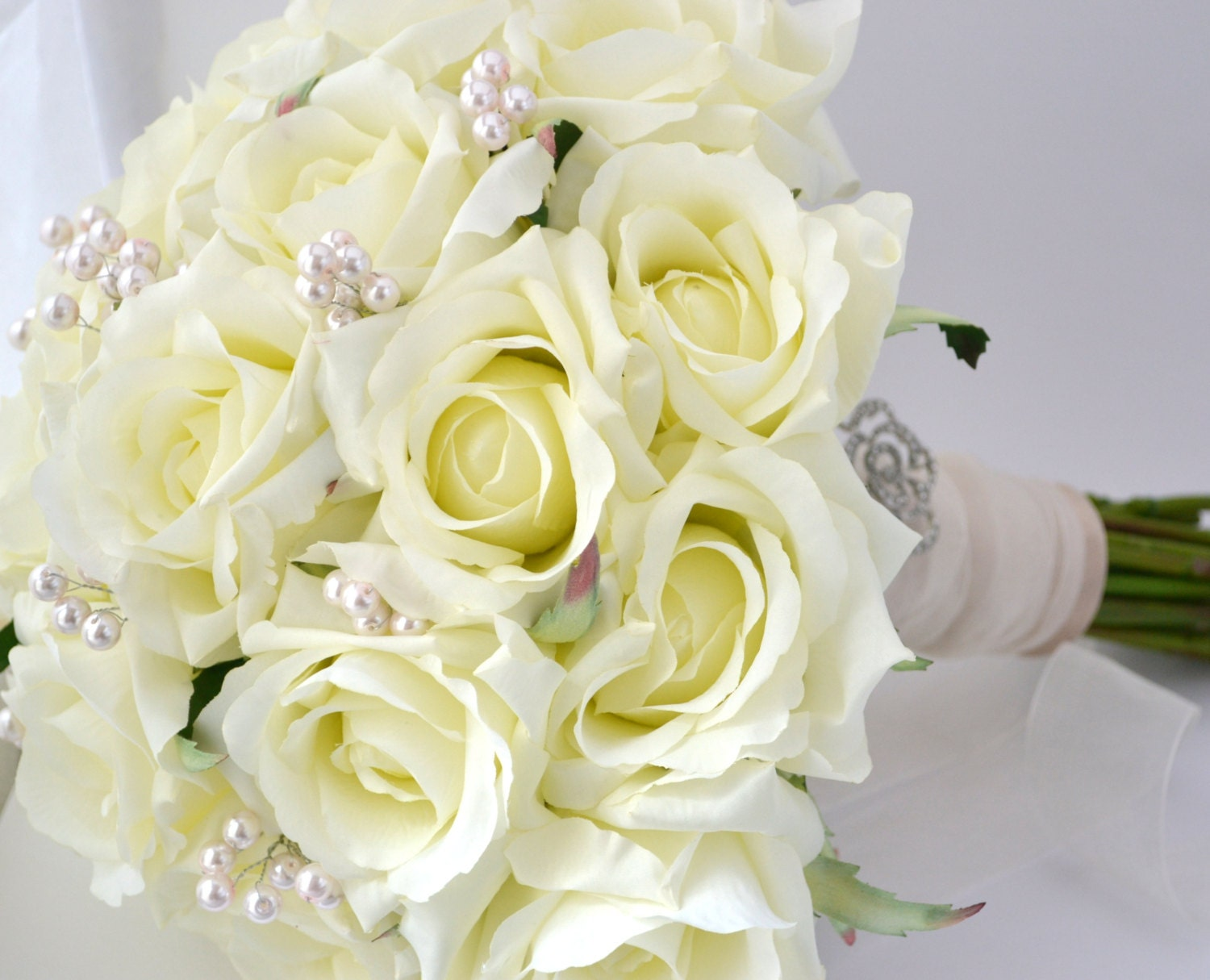 White rose bouquet white cream roses blush accents silk for Bouquet rose
