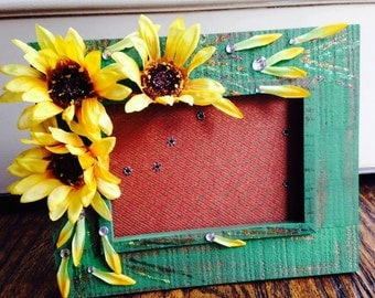 Hand-Painted Sunflower Frame