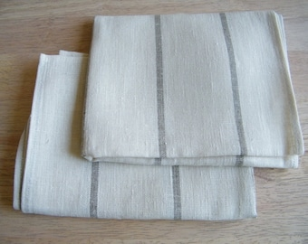 A Pair of Natural Linen/ Pure Flax Towels, Bath Sheets, Large Bathroom Towels,  Offwhite with Gray Ecru  Stripes.