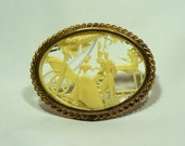 Celluloid Depose France Figural Silhouette Brooch / Oval Celluloid Brooch Circa 1920