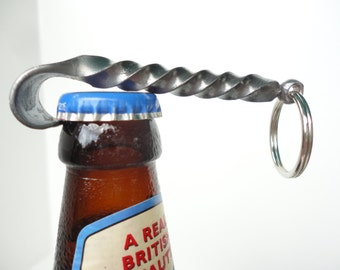 Bottle Opener Keychain -- hand forged by blacksmith -- great gifts for Groomsmen, Usher gift