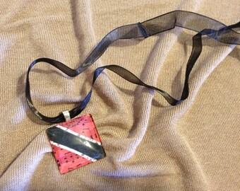 Glass Tile Necklace - Trinidad Flag