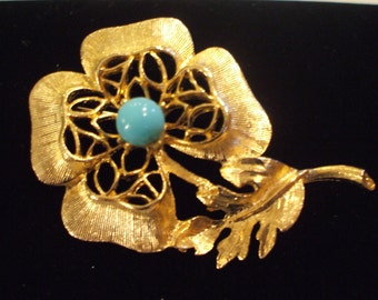 Vintage Flower Pin Marked Cathe