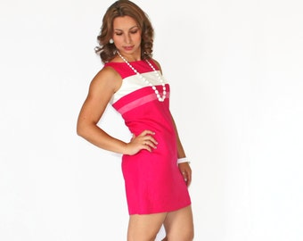 80s Hot Pink Dress. Size Small. Linen Mod Dress. Sheath Dress. Fuchsia Dress. Pink White Stripes. Mad Men Fashion. Cocktail Dress.