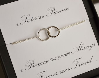 Sister Promise Necklace with Linked Sterling Silver Rings