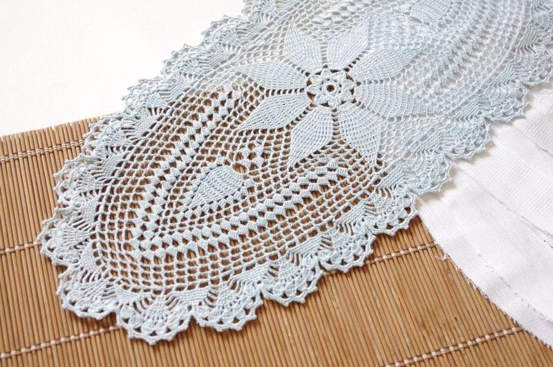 Crochet Table Runner Oval Crochet Doily Light Blue Handmade