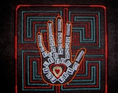 """Patch Embroidered Hand Heart 4"""""""