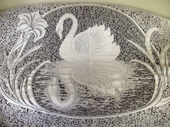 vintage white lace swan shower curtain. Black Bedroom Furniture Sets. Home Design Ideas