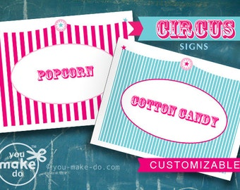 INSTANT DOWNLOAD circus signs carnival signs circus party pink carnival pink and turquoise carnival baby shower boy circus baby shower girl