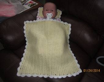 Yellow and White Baby Doll Blanket and Pillow Set