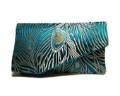 Bridesmaid Gift,  EllenVintage Peacock Clutch with Silk lining, Wedding clutch, Bridesmaid clutch, Evening bag