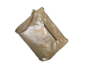 Stylish Gold Leather Clutch Bag with Wrist Strap, Fashion  Wrist-let Purse, Evening Pouch, Angel-2