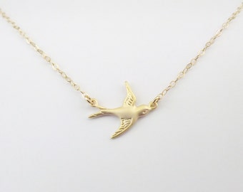 Gold Bird Necklace - Gold Sparrow