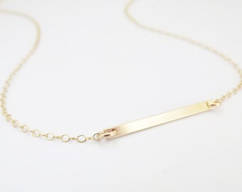 Gold Bar Necklace - Simple Gold Bar