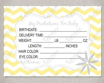 Predictions For Baby - Printable Baby Shower Cards in Yellow & Grey -  INSTANT DOWNLOAD