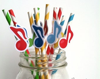 12 Music Note Straws Music Party or Recital Paper Straws