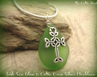 Beautiful Irish Green Sea Glass & Celtic Cross Silver Necklace