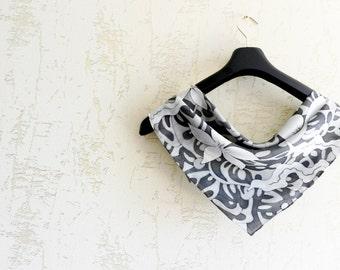 Flowers black and white silk scarf . Black ornament scarf . 50 shades of gray gift. Ready to ship.