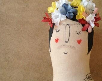 Large Frida Kahlo Tattooed Handmade Art Doll- Painted Plush- Painted OOAK- made to order