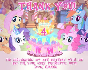 MLP My Little Pony Thank You Card Digital File 4X6 or 5X7
