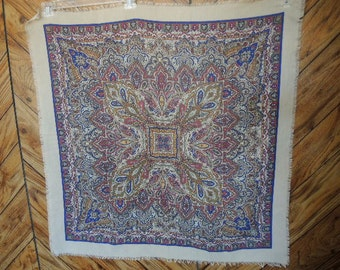 Vintage 1970s polyester scarf The Specialty House Paisley pink purple on neutral background